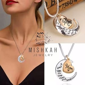 Just In❤️Mother's Love Heart Moon Charm Necklace